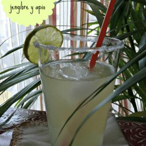 Agua de lima con aroma de apio y jengibre