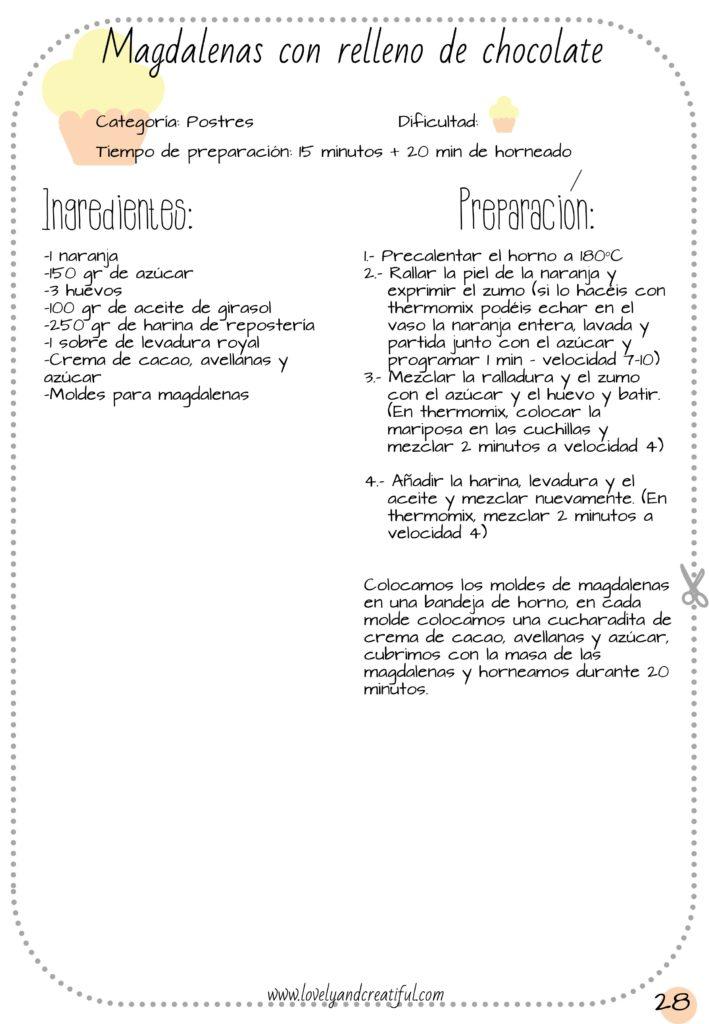 receta de magdalenas de naranja y relleno de chocolate