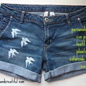 Idea para personalizar unos pantalones vaqueros con pintura textil