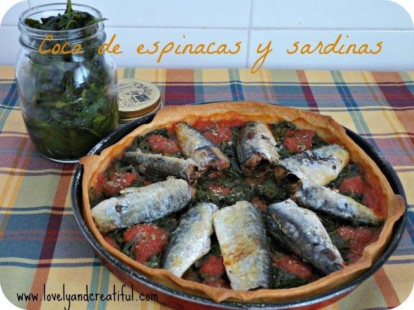 Coca de espinacas y sardinas