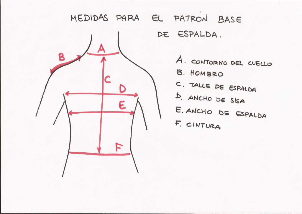 Medidas patrón base de espalda