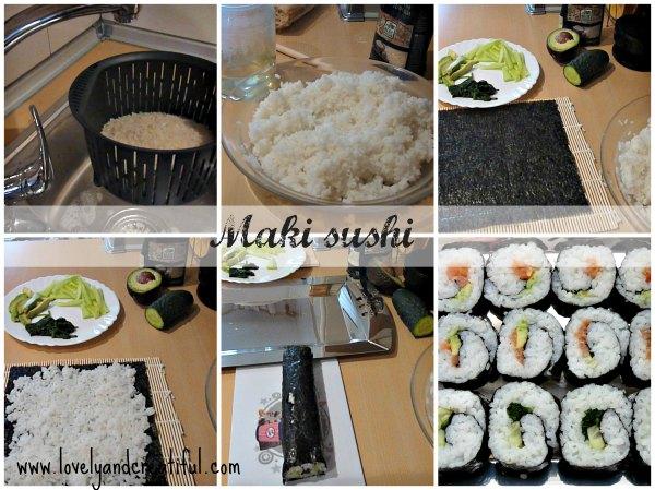 Maki sushi elaboración